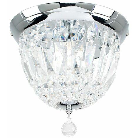 Chrome Flush Ceiling Light Clear Acrylic Jewels