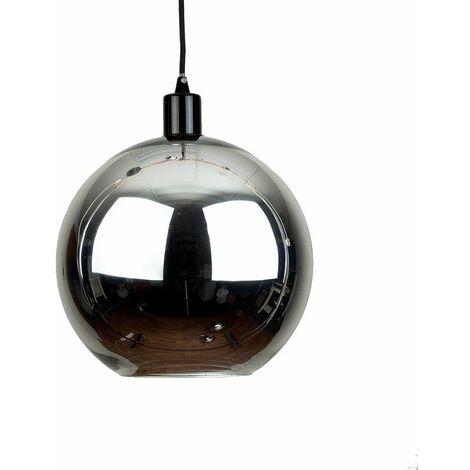 Chrome Glass Ball Ceiling Pendant Light Shade + Black Ceiling Rose Braided Flex