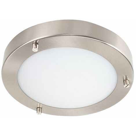Chrome & Glass Flush Bathroom Ceiling Light - Ip44 + 3W Energy Saving G9 LED Bulb - Silver