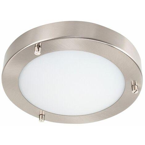 Chrome & Glass Flush Bathroom Ceiling Light - IP44 + 3W G9 LED Bulb