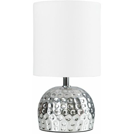 Chrome Hammered Table Lamp + White Shade 4W LED Bulb Warm White