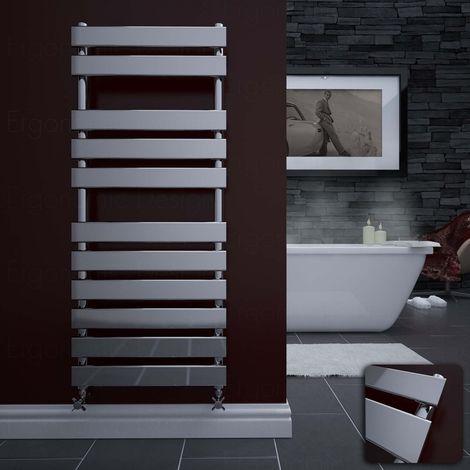 Chrome Heated Bathroom Towel Rail Radiator 1200 X 500 Flat Panel