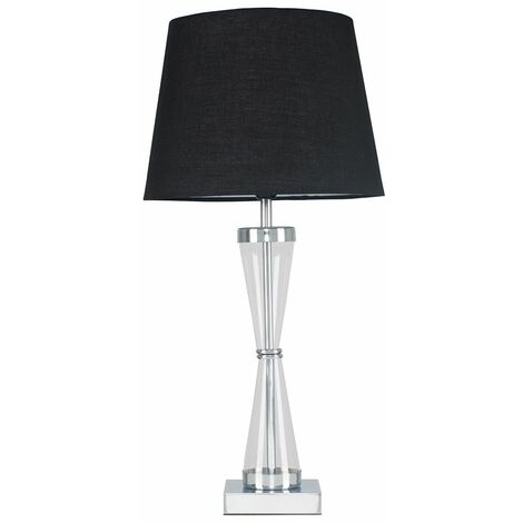Chrome Hourglass Table Lamp + Black Shade