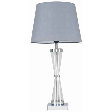Chrome Hourglass Table Lamp + Grey Shade + 4W LED Candle Bulb Warm White