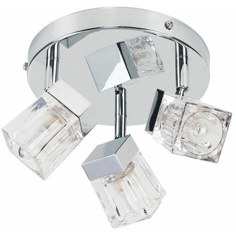 Chrome Ice Cube 3 Way Ip44 Bathroom Ceiling Light Spotlight + 3W Energy Saving G9 LED Light Bulbs