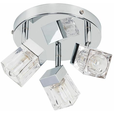 Chrome Ice Cube 3 Way Ip44 Bathroom Ceiling Light Spotlight + 3W Energy Saving G9 LED Light Bulbs - Silver