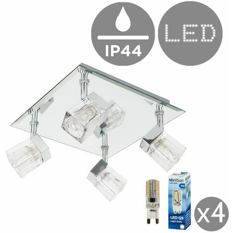 Chrome Ice Cube 4 Way Ip44 Bathroom Ceiling Light Spotlight + 3W Energy Saving G9 LED Light Bulbs - Silver
