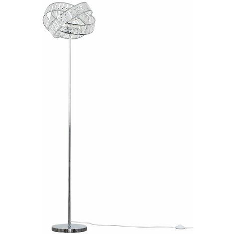 Chrome Intertwined Acrylic Jewel Ring Floor Lamp Light - Add LED Bulb