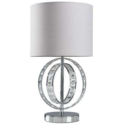 Chrome Jewel Touch Table Lamp Grey Drum Lampshade & LED Bulb - Cool Grey - Silver