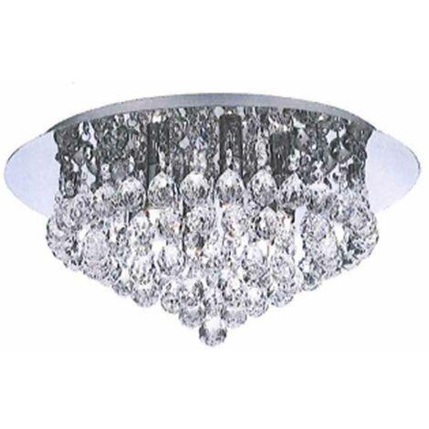 Chrome & K9 Lead Crystal Jewel Droplet Flush Ceiling Light