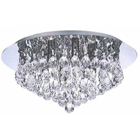 Chrome & K9 Lead Crystal Jewel Droplet Flush Ceiling Light - No Bulbs