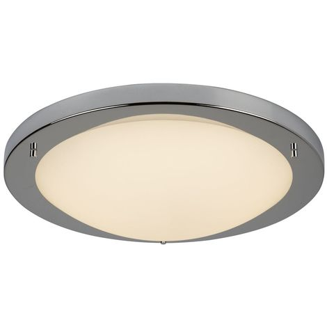 CHROME LED FLUSH FITTING, OPAL GLASS, 20W