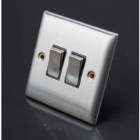 Chrome Light Switch Double 2 Gang Lyvia Venetian S/S 2W SW Black Insert 2G 10A