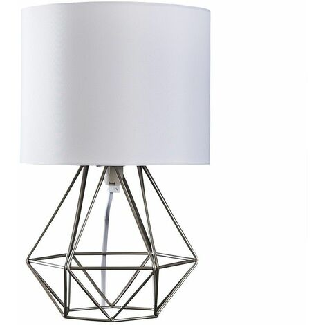 Chrome Metal Cage Table Lamp + White Fabric Shade
