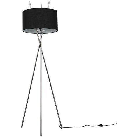 Chrome Metal Crossover Tripod Floor Lamp + Black Shade - Silver