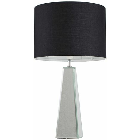 Chrome & Mirrored Table Lamp + Black Shade