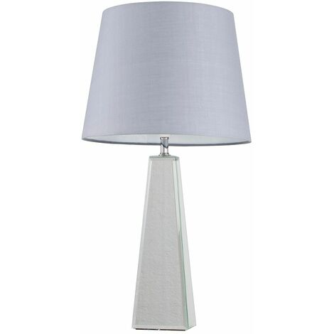 Chrome & Mirrored Table Lamp + Grey Shade