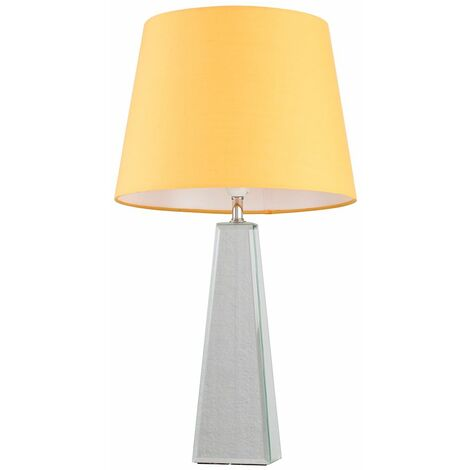 Chrome & Mirrored Table Lamp + Mustard Shade