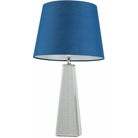 Chrome & Mirrored Table Lamp + Navy Blue Shade