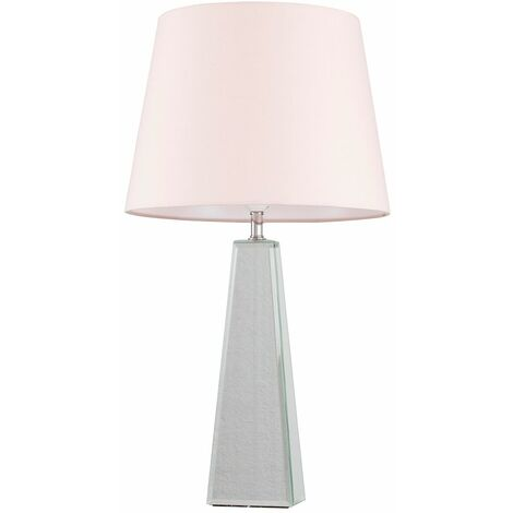 Chrome & Mirrored Table Lamp + Pink Shade - 6W LED Gls Bulb Warm White