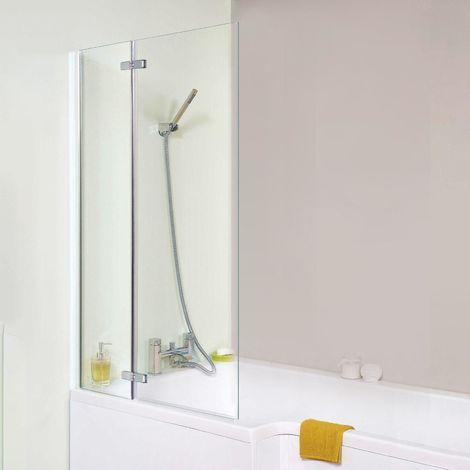 Chrome Modern Bathroom 5mm Glass Bath Shower Square Screen 1050 X 1400