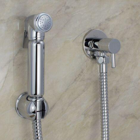 Chrome Muslim Shataff Bidet Douche Hand Shower Toilet Spray Brass Kit