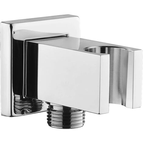 """main image of """"Chrome pipe fitting with hand shower holder, 1/2 """"brass square wall fitting, shower elbow with support, sand fitting, Wall-mounted hand shower fitting"""""""
