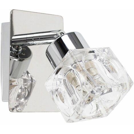 Chrome Plate & Clear Glass Ice Cube Shade Wall Spotlight Lamp + 3W G9 LED Bulb