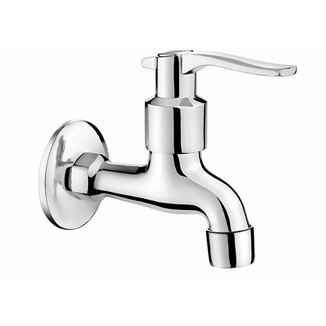 """Chrome Plated Cold Water Garden Outdoor Tap 1/2"""" with Aerator and Adapter"""