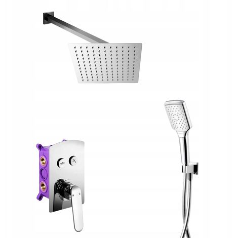 Chrome Plated Concealed Shower Mixer Set Square Rainfall + Handshower