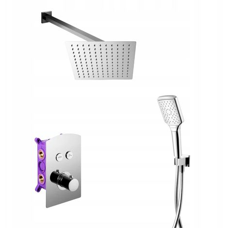 Chrome Plated Concealed Shower Thermostatic Mixer Set Square Rainfall Handshower