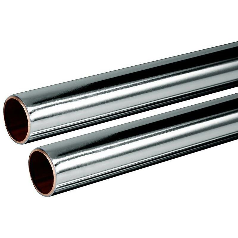 Image of Buyaparcel - Chrome Plated Copper Tube 15mm 2x 1m Length BS EN1057 R250 British Copper 2.0m