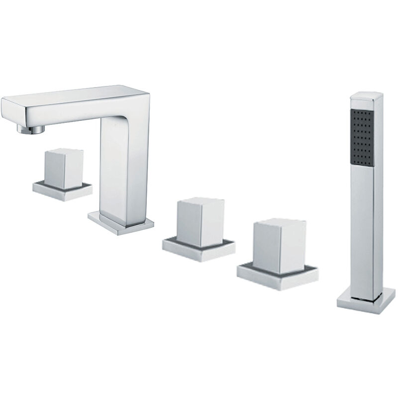 Chrome-plated deck-mounted bathtub mixer tap - Bergamo