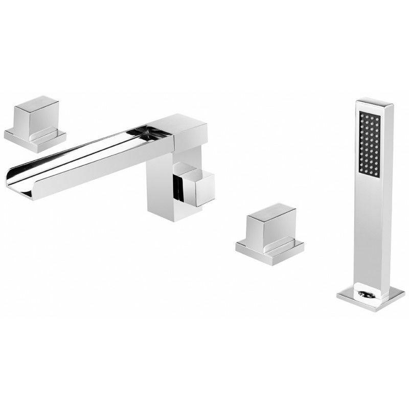 Chrome-plated deck-mounted waterfall bath-shower mixer - Alnair