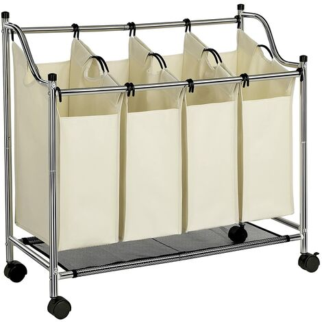Chrome Plated Metal Frame Laundry Basket Cart Bin Hamper Trolley with 4 Sorter Beige Capacity: 104 L LSF005S