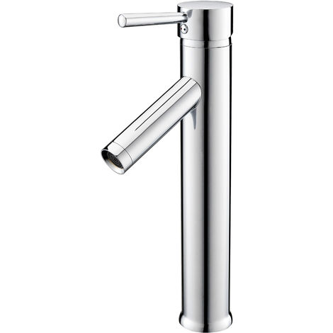 Chrome-Plated Single-Lever Tall Bathroom Basin Tap Faucet Bathroom Washbasin Basin Mixer Tap