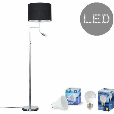 Chrome Reading Light Floor Lamp + Black Light Shade 4W LED Golfball Bulb & 5W GU10 Bulb - Warm White