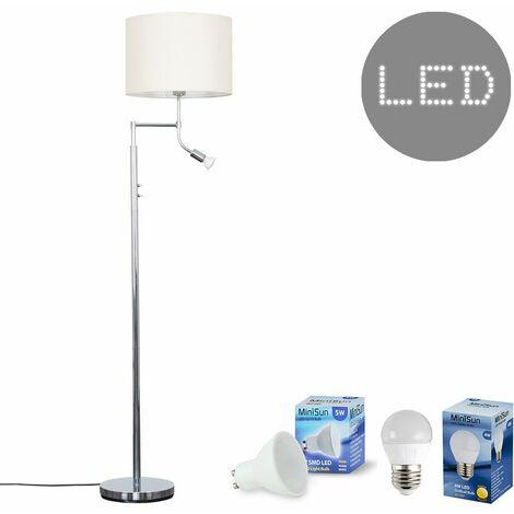 Chrome Reading Light Floor Lamp + Cream Light Shade 4W LED Golfball Bulb & 5W GU10 Bulb - Warm White