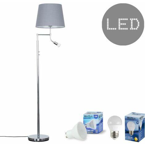 Chrome Reading Light Floor Lamp + Grey Light Shade 4W LED Golfball Bulb & 5W GU10 Bulb - Warm White