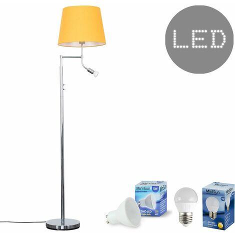 Chrome Reading Light Floor Lamp + Mustard Light Shade 4W LED Golfball Bulb & 5W GU10 Bulb - Warm White