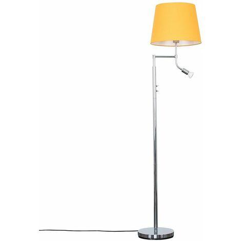 Chrome Reading Light Floor Lamp + Mustard Light Shade