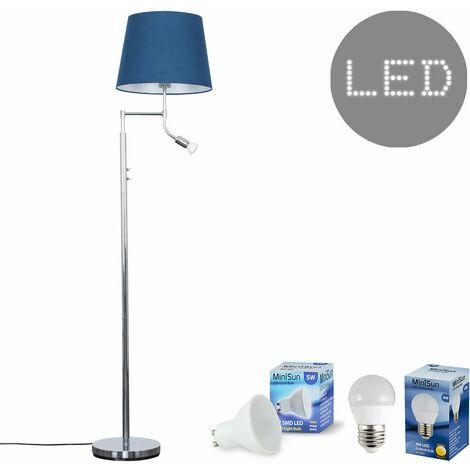 Chrome Reading Light Floor Lamp + Navy Blue Light Shade 4W LED Golfball Bulb & 5W GU10 Bulb - Warm White