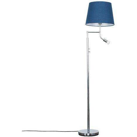 Chrome Reading Light Floor Lamp + Navy Blue Light Shade