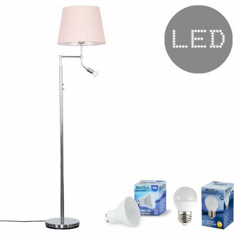 Chrome Reading Light Floor Lamp + Pink Light Shade 4W LED Golfball Bulb & 5W GU10 Bulb - Warm White