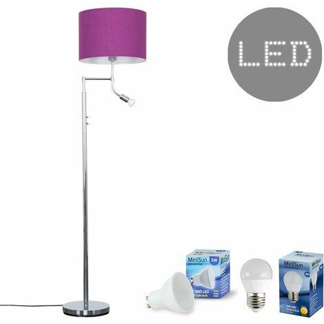 Chrome Reading Light Floor Lamp + Purple Light Shade 4W LED Golfball Bulb & 5W GU10 Bulb - Warm White