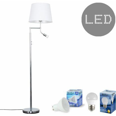 Chrome Reading Light Floor Lamp + White Light Shade 4W LED Golfball Bulb & 5W GU10 Bulb - Warm White
