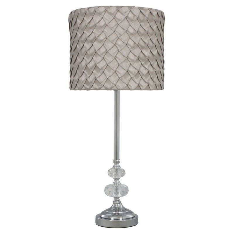 Image of Chrome Sandringham Glass Bubble Lamp With Taupe Folds Textured Pattern Shade Bedside Night light Lighting - CIMC