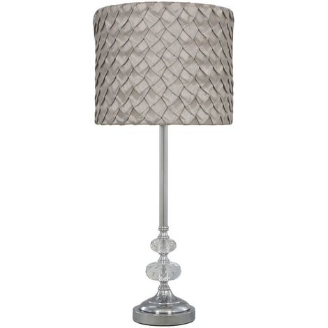 Chrome Sandringham Glass Bubble Lamp With Taupe Folds Textured Pattern Shade Bedside Night light Lighting