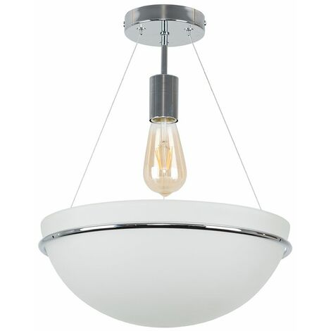 Chrome Semi Flush Ceiling Light With Frosted Glass Shade 4W LED Filament Bulb Warm White