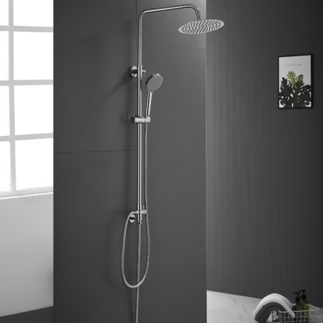 """Chrome Shower Mixer 2-Way Shower Set with 9.6"""" Rain Shower and Hand Held Shower 2-Function Wall-Mounted Shower System"""